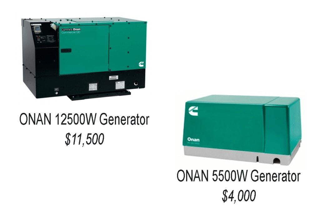 Onan Generator Comparison Graphic